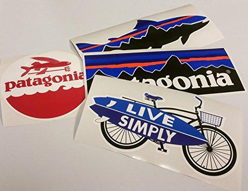 Patagonia Set of 4 Vinyl Sticker Decal Mountain Trout Bike Bicycle Surfing - Of Mountains Patagonia