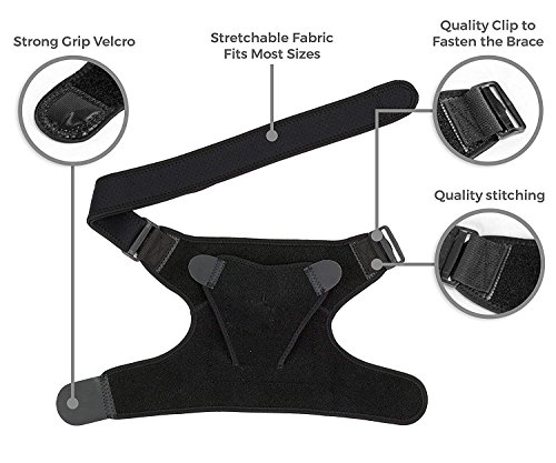 Shoulder Brace Rotator Cuff Support for Men and Women for Injury Prevention, Dislocated AC Joint, Arthritis, Tendonitis with Adjustable Strap, Pressure Pad + Breathable Neoprene by BusyBee (Image #2)