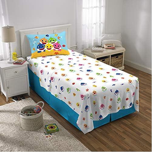 Franco Kids Bedding Super Soft Comforter and Sheet Set with Bonus Sham, 5 Piece Twin Size, Baby Shark 7