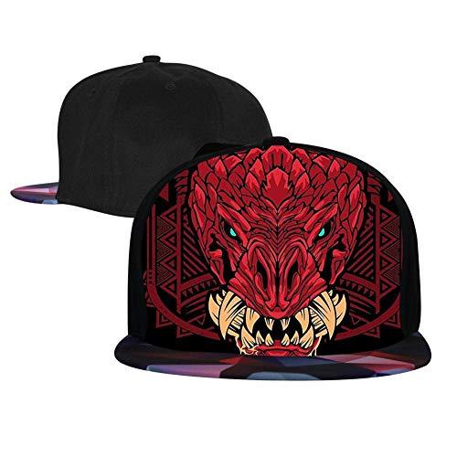 - SsSEYYA Unisex Snapback Flat Bill Hip Hop Hats Odo-Garon Monster Hunter Baseball Cap Red