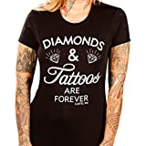 Women's Cartel Ink Diamonds and Tattoos are Forever Tee Black L