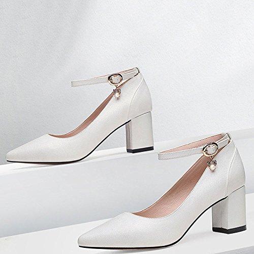 DKFJKI Strass Femmes Bouton Simple de Travail Pointu White Chaussure pour Noir Talons Élégant prqtxnOw5p