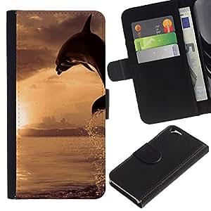 EJOY---Tirón de la caja Cartera de cuero con ranuras para tarjetas / Apple Iphone 6 / --Dolpin Wave