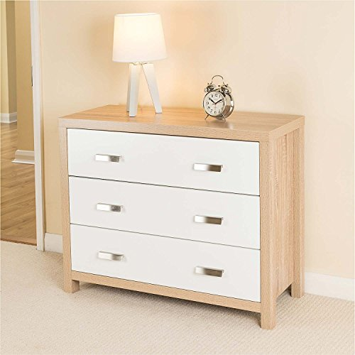 Bianco Oak Effect White Wood 3 Drawer Chest of Drawers Modern Bedroom Furniture