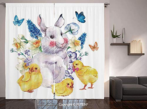 PUTIEN Thermal Insulated Blackout Window Curtain [ Cartoon,Vintage Easter Illustration with Happy Cute Bunny Chickens Flowers and,Yellow Blue ] for Living Room Bedroom Dorm Room Classroom Kitchen -