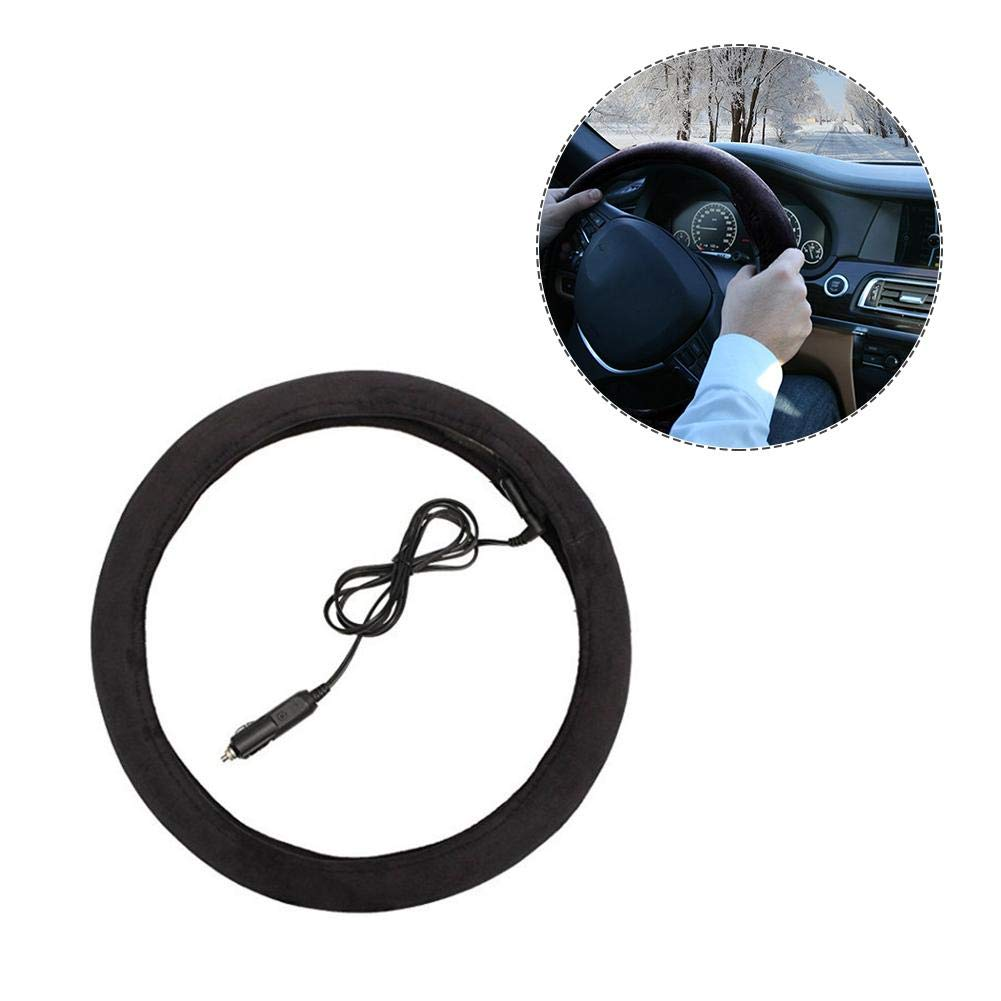 total-shop Heated Steering Wheel Cover 12 V Electric Steering Wheel Cover Car Heated Steering Wheel Cover Auto Car Heating Covers