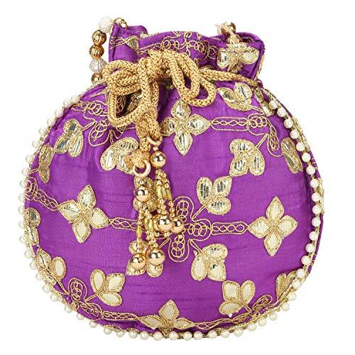 (Indian Ethnic Designer Embroidered Silk Potli Bag Batwa Pearls Handle Purse (Purple))