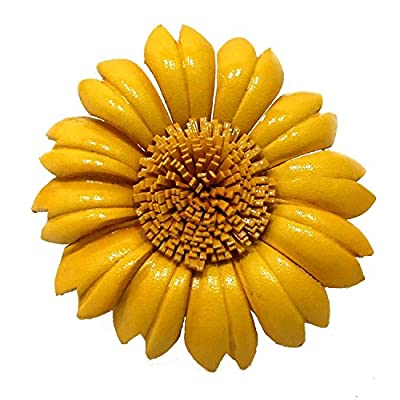 Yellow Sunflower Genuine Leather 2-in-1 Floral Pin or Hairclip free shipping