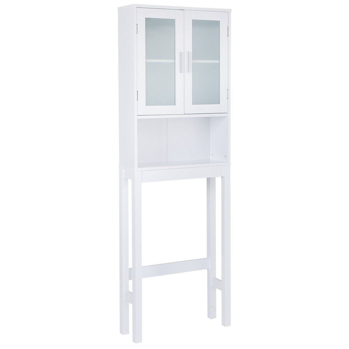 Over The Toilet Storage Cabinet Space Saver Organizer Bathroom Tower Rack Wooden White