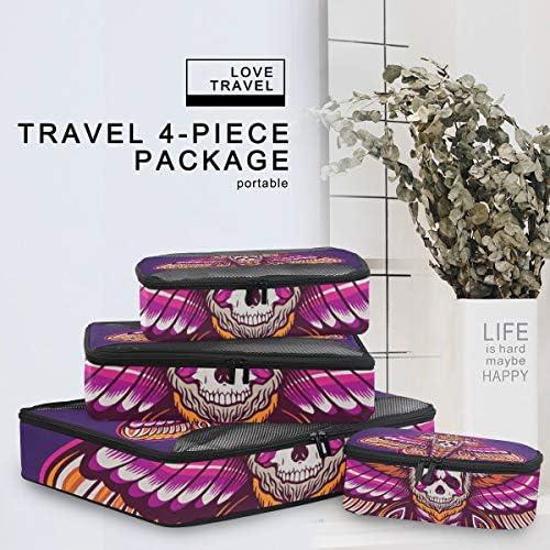 紫の頭蓋骨の蝶荷物パッキングキューブオーガナイザートイレタリーランドリーストレージバッグポーチパックキューブ4さまざまなサイズセットトラベルキッズレディース