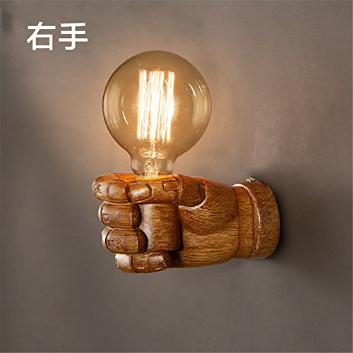 JhyQzyzqj Wall Sconce Wall Lights American Wall lamp Bedroom Bedroom Bedside lamp Simple Modern Living Room European Background Wall Balcony Creative Resin fist Wall Light Lamps