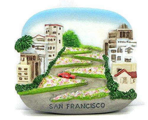 Lombard St.San Francisco USA Souvenir Fridge Magnet Toy Set 3D Resin Collection ()