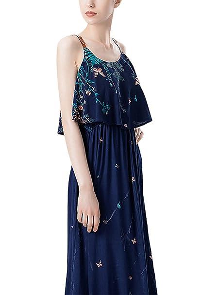 Mujer Vestidos Largos Verano Elegantes Vintage Flores Estampados Vestido Largo Tirantes Sin Mangas Con Volantes Espalda