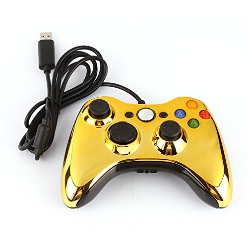 Usb Wired Game Controller Joypad Joystick Gold Color Ergonomic Design, Give You A Nice Gaming Experience Dual Rumble Motors.