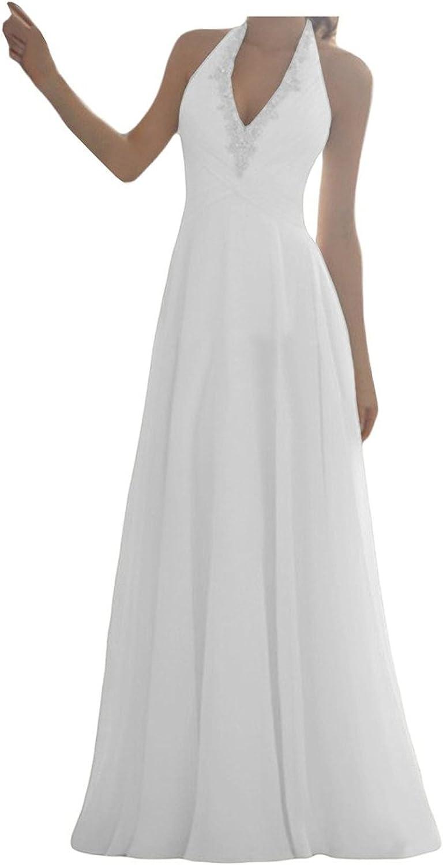 Brautkleid Lang Hochzeitskleider Damen Chiffon Schleppe Neckholder A Linie  Rückenfrei