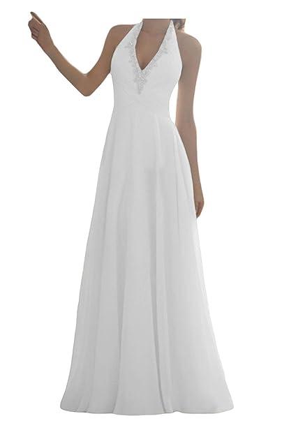 Vestido de Novia Largo Vestidos de Boda Mujer Gasa V-Cuello Escotado por detrás Blanco
