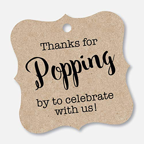 Thanks For Popping By Tags, Baby Shower Popcorn Tags, Wedding Popcorn Favor Tags (FS-370-KR) -