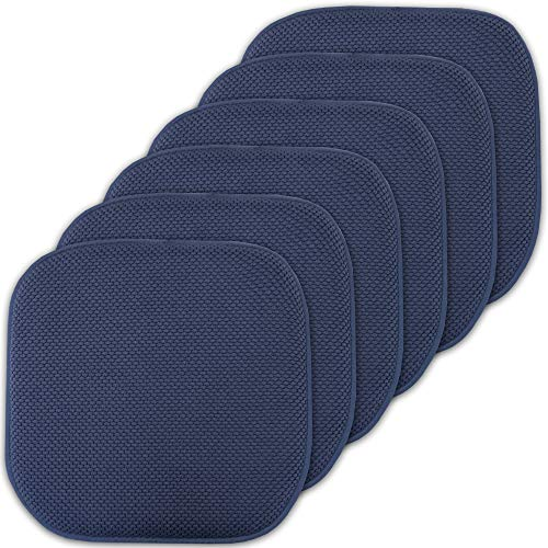 Sweet Home Collection Cushion Memory Foam Chair Pads Honeycomb Nonslip Back Seat Cover 16″ x 16″ 6 Pack Navy Blue