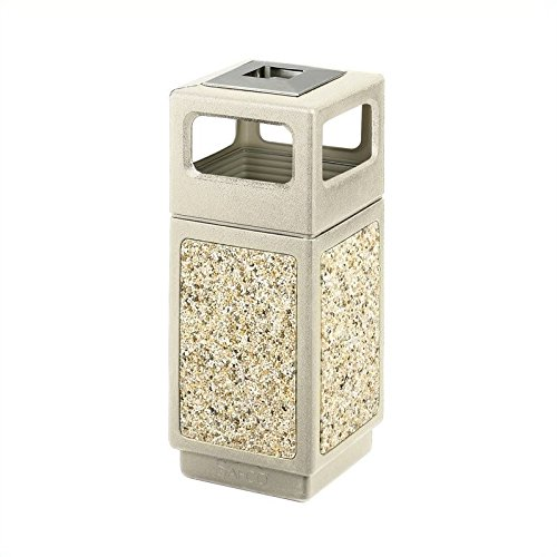 Safco Products 9470TN Canmeleon Aggregate Panel Waste Receptacle Side Open with Ash Urn, 15-Gallon, Tan