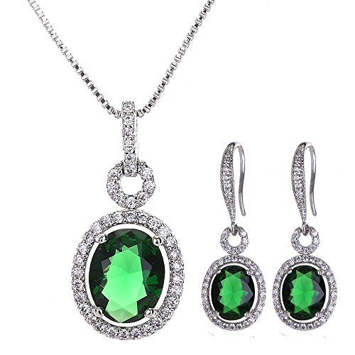 AMYJANE Vintage CZ Jewelry Set Green - Women's Sterling Silver 14k White Gold Plated Emerald Crystal Cubic Zirconia Earrings Necklace Set May Birthstone Jewelry Set Birthday Gift