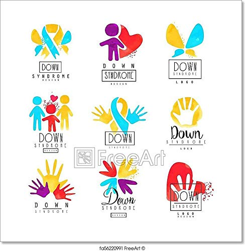 Set of Abstract Emblems with Ribbons, Humans and Hands. Logos for Medical Centers. for Invitation, Charitable Fund Or Postcard for Autism Awareness Day Paper Print Wall Art (42in. x 42in.)
