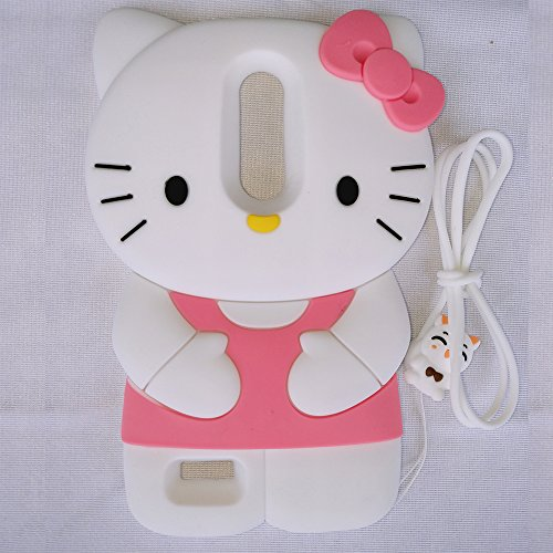 ZTE Zmax Pro Case,Kitty Shaped Adorable 3D Cute Cartoon Character Soft Rubber Silicone Case with a Strap (6 Inch)(Kitty Pink)