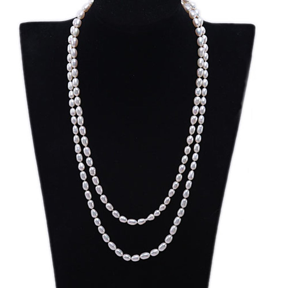 JYX 7-8mm Oval Natural White Freshwater Pearl Necklace Long Sweater Necklace 48''