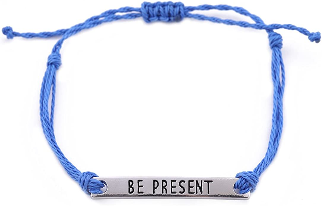 EUEAVAN Be Present Inspirational Motto Pendant Wax Cord Adjustable Bracelet