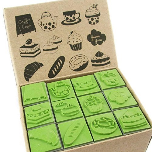 CR010 12 Kids Bakery Cake Cupcake Sweets Rubber Stamps Set