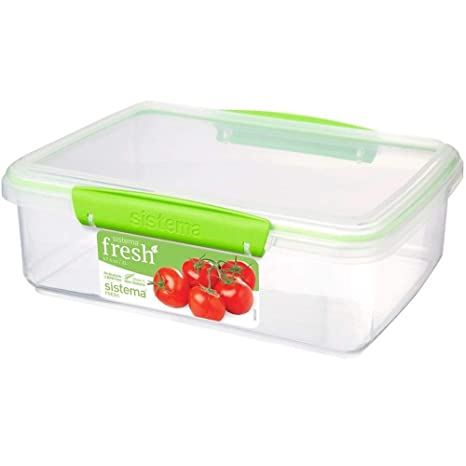 Sistema Fresh Collection Rectangle Food Storage Container, 8.4 Cup, Clear/Lime  Green