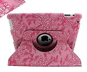 SANOXY 360 Rotating Swivel Smart Premium Vegan PU Leather Case + Smart Cover + Stand for iPad 2/3/4 (2D FLOWER PINK)
