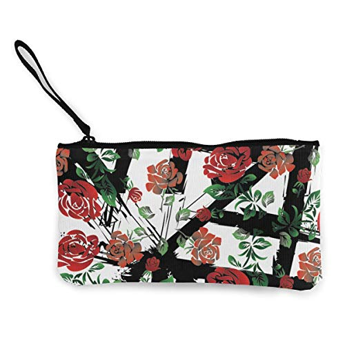 MODREACH Women's Canvas Zip Around Wallet Ladies Clutch Travel Purse Wrist Strap Red Rose Flowers Pattern Abstract Grid Floral ()