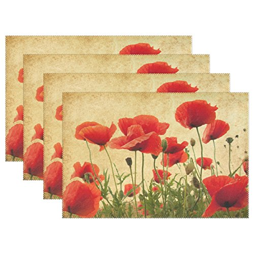 WOZO Vintage Poppy Placemat Table Mat, Shabby Chic Floral 12