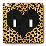3dRose LLC lsp_20394_2 Punk Rockabilly Cheetah Animal Print with Black Heart Double Toggle Switch