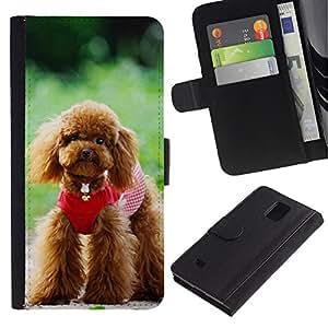 iBinBang / Flip Funda de Cuero Case Cover - Lindo perro de caniche - Samsung Galaxy Note 4 SM-N910