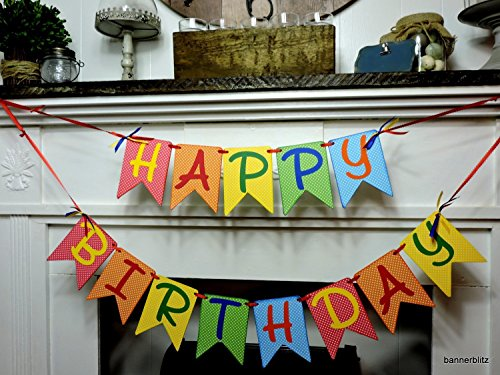 Happy Birthday Banner (Bright Chipboard)