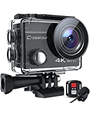$49 » Action Camera 4K 20MP Underwater with External Microphone PC Webcam CT8500 WiFi Vlogging Cam EIS 40M Waterproof Camera with Remote Control and Mounting Accessories Kit