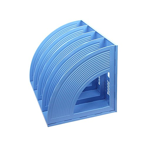 Whthteey 4 Compartment Desktop File Organizer Basket Plastic File Holders for Home Office School Blue by Whthteey (Image #4)