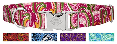 10 - Country Brook Design Pink Paisley Premium Dog Collars - Extra Large