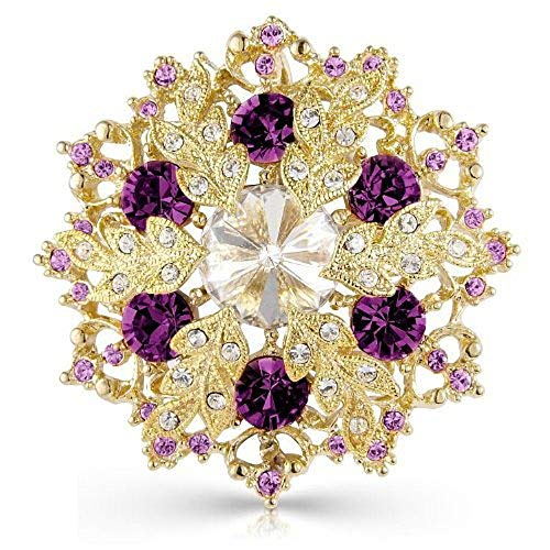Crystal Elegance UK Designer Purple and Gold Tone Snowflake Brooch Pin and Pendant - 5cm x 5cm