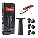 Cheap mockins All in One Wine Accessory Set With Wine Saver Vacuum Pump | 6 Vacuum Rubber Wine Stoppers And 3 in 1 Corkscrew With Foil Cutter And Bottle Opener – Best Mother's Day Gift Set …