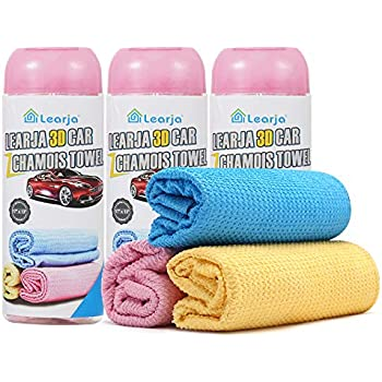 blue, 17 x 13 inches, 1 pack, 3 available colors for you choose. Car Wash Chamois Towel【Upgraded version】Premium Synthetic Shammy Towel【Come with storage tube】 Learja Faster Drying No Lint No Streak