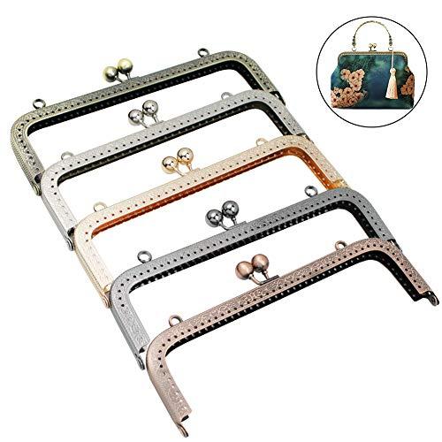 GuoFa 5pcs 7.9inch Purse Frame Coin Clutch Kiss Clasp Lock Sewing, Metal DIY Flower Pattern Purse Frames for Women Girls Multicolor ()