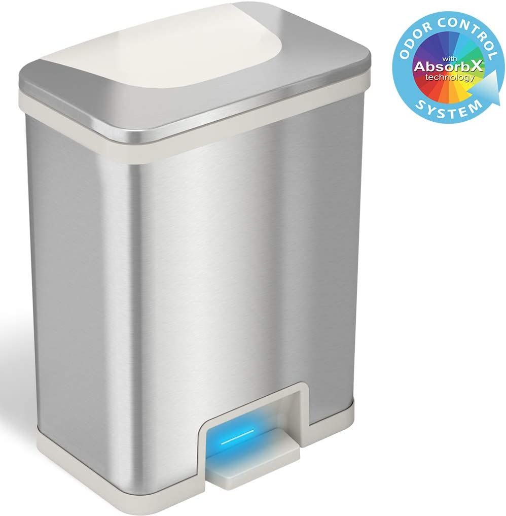 iTouchless 13 Gallon Automatic Step Sensor Trash Can with Odor Control System, Stainless Steel Kitchen Pedal Touchless Garbage Bin, Powered by Batteries or AC Adapter (not Included), Autostep, White