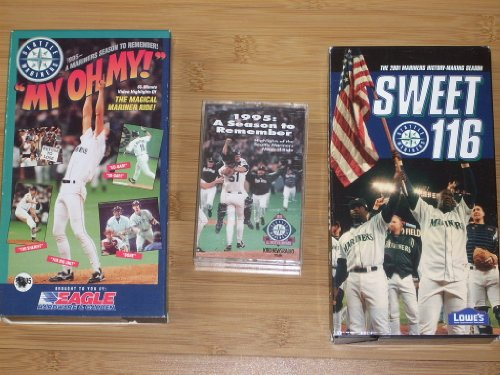 Collection of (3) SEATTLE MARINER Baseball Videos & Audio by KIRO - Two VHS Videocassettes: 1995 MY OH MY, 2001 SWEET 116 and one rare Audiocassette 1995: A Season to Remember with Rick Rizzs and Dave Niehaus (72 minutes!) - Save on shipping!