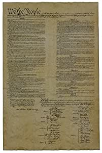 """The United States Constitution. In clear plastic tube. Large. (23""""x 29"""" appr.) High Quality Replica of Historical document. Genuine Parchment."""
