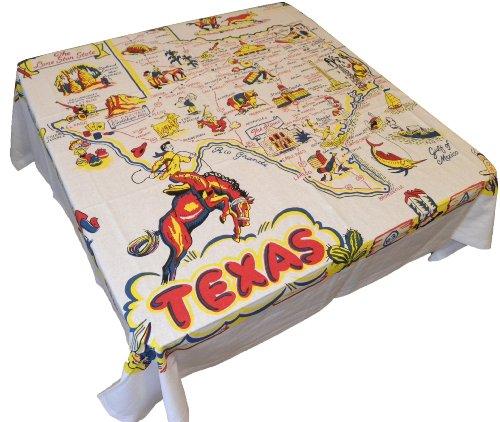(Redandwhitekitchen State of Texas Souvenir Map Tablecloth, 52 inch square)