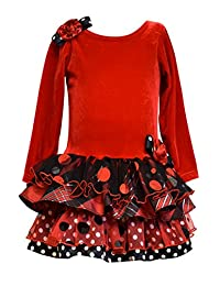 Bonnie Jean Girls Stretch Velvet Multi Tiers, Red (5, Multi)