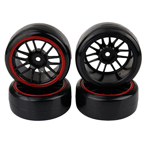Yiguo Durable 14 Spoke Red Edge Wheel Rims and Smooth Plastic Tyre Tires for RC 1:10 Drift On Road Car Set of 4