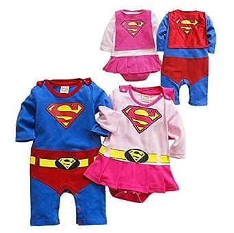 c9c14843d Baby Boy Girl Romper Newborn Jumpsuit Superman/Supergirl Romper (Blue, 18-24